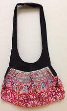 Shoulder Bag Purse Hmong Hill Tribe Embroidered Red Handbag