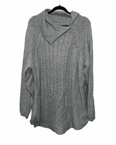 Croft & Barrow Pullover Sweater Long Sleeve Knit Top Gray Women's Plus Size 3X
