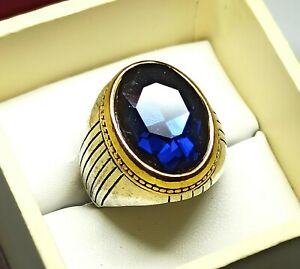 Dazzling Emerald Cut Tanzanite Ring Silver Plated Solid Stunning US Size 10