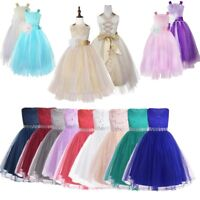 Flower Girl Princess Dress Formal Party Wedding Pageant Birthday Tutu Long Dress