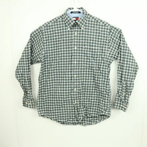 Vintage Tommy Hilfiger Mens Shirt Size S Green Checkered Long Sleeve Button-Down