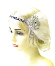 White Black Silver Feather Headpiece 1920s Headband Flapper Great Gatsby 1828
