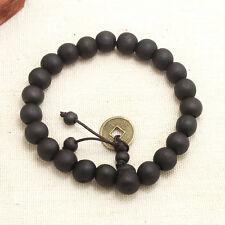 Tibetan Unisex 10mm Religion Prayer Beads Bracelet Coins Pendant Wrist Bangle