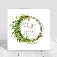 WEDDING INVITATIONS Personalised Folded,Christmas Wreath Collection Pk 5