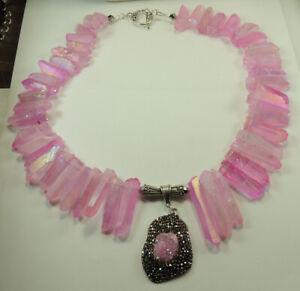 Statement Pink Quartz Necklace with Druzy