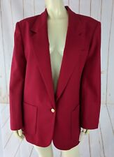 Talbots Blazer 10 New $158 Red Worsted Wool Lined Gold Button Pad Shoulders Vtg