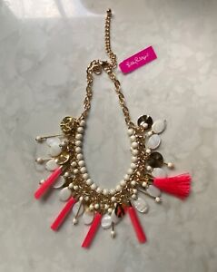 New Lilly Pulitzer Necklace Layered Tassel Tiered Gold White w Pink Tassels $98.