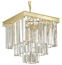 Retro Odeon Crystal Glass Fringe 3-Tier Chandelier Gold