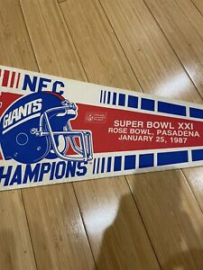1986 NEW YORK GIANTS SUPER BOWL XXI CHAMPIONS NFC CHAMPS FULL SIZE PENNANT Used