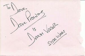 DAVE PROWSE STAR WARS DARTH VADER GREAT HAND SIGNED AUTOGRAPHED ALBUM PAGE