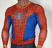 MEN'S SHINY SPIDER MAN SHIRT BLUE SMALL