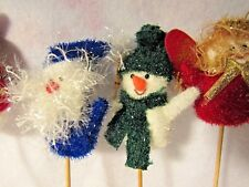 5 Vintage fuzzy plush Snowman Angel Santa Christmas Holiday Floral Decor Picks