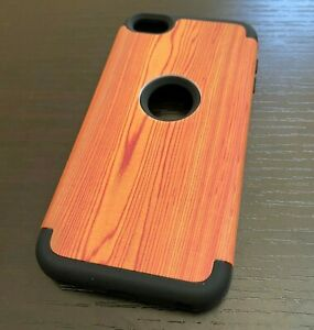 For iPod Touch 5th 6th & 7th Gen - Hard & Soft Hybrid Shockproof Case Brown Wood