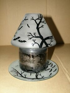 YANKEE CANDLE HALLOWEEN SPOOKY TREES & BATS JAR SHADE & PLATE SET BRAND NEW
