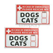 2x In Case of Emergency Rescue My Dogs Cat Sticker Decal Self Adhesive Save Pets