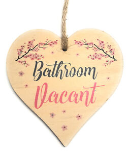 Engaged Vacant Double Sided Wooden Hanging Bathroom Door Sign Decorative Plaque