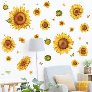 Sunflower Wall Decals Butterfly Sticker DIY Mural Living Room Background Decor