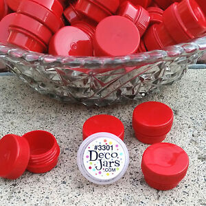 50 .25oz Mini RED JARS Red Caps Cosmetic Container #3301 Meds 1/4oz USA DecoJars