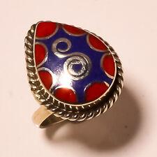 Lapis Lazuli Red Coral Gemstone Jewelry Adjustable Nepali Ring NR-318