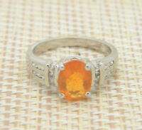 TGGC Orange Nephrite Sterling Silver .925 Ring Vintage Size 7.25