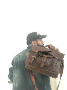 """Messenger Shoulder Men Retro Mens Laptop Satchel Handbag Brown 15"""" Bag Leather"""