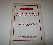 BR LONDON MIDLAND PASSENGER SERVICES LONDON SUBURBAN TIMETABLE 1958 /1959