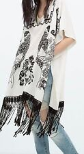 ZARA One Size M Ethnic Embroidered Tunic Blouse Fringes tunique broderie franges