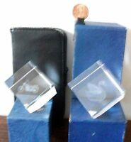 3D Laser Etched cubes Set of 2 MOTORCYCLE (HARLEY) & SWAN (GOOSE BIRD) W/ BOX