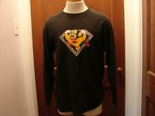 Vintage Mighty Mouse Here I Come To Save The Day Black Long Sleeve Shirt Size L