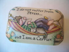 SUZANNE CRUISE PORCELAIN TRINKET BOX CAT I DO NOT SUFFER FROM STRESS