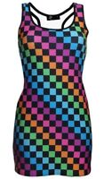 Women's Rainbow Multi Check Squares Checkerboard Check Long Vest Top Funky Rave