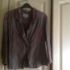 Marks and Spencer Per Una Brown Cotton & Lace Blazer Size 14