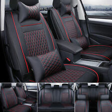 5-Seat Car Seat Cover Protector+Cushions Front &Rear Full Set+Headest Red Stitch