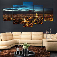 Paris At Night Canvas Print Painting Wall Art Poster Home Decor No Frame 5 Piece