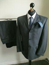 Next Navy Blue Stripe 3 Button Wool Suit Size 38S - 32W 30L