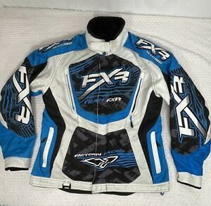 FXR Racing Cold Cross womens snowmobile jacket Removable Lining Blue White Sz 8*