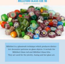 COE 90 Millefiori Glass Rod& Millefiori Glass Frit Making in Microwave Kiln TEN