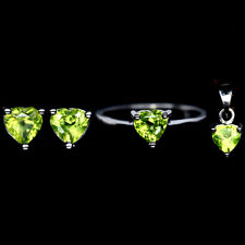 NATURAL Green PERIDOT  STERLING 925 SILVER EARRINGS PENDANT RING Heart SET