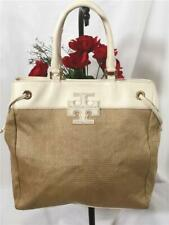 TORY BURCH Straw White Pebbled Leather Trimmed Large NS Shoulder Tote Bag