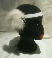 Great Gatsby Diamante Pearl  & Feather White Elastic 1920s  Hair Piece Head Band
