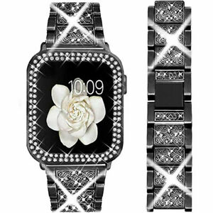 Bling Diamond Band Strap+Protective Case For Apple Watch Series 6 SE 5 4 3 2 1