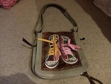 Canvas Shoulder / Messenger Bag With Embroidered Lace up Trainers Design - NEW