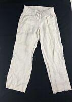 Athleta Reverie Pants Pull On 4P White 100% Linen Wide Leg Drawstring Elastic