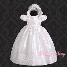 Beaded White Baby Girl Christening Baptism Formal Dress Gown & Bonnet 9m-12m 027