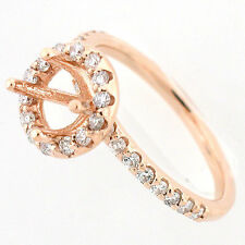 Solid 14k Rose Gold Semi Mount Diamond Halo Ring Setting  0.60 Cts - Round Mount