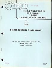 943-0009 Onan UF Instruction Manual and Parts Catalog New