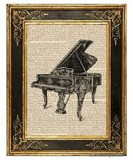 Grand Piano Art Print on Antique Book Page Vintage Illust Musical Instrument