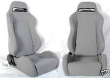 NEW 1 PAIR GRAY CLOTH RACING SEATS RECLINABLE W/ SLIDERS ALL FORD *