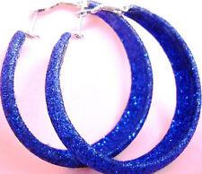 "E1025 Dull Polish Blue Hoop Earrings Diameter 1.77"" Fashion Girl/Lady Jewelry"