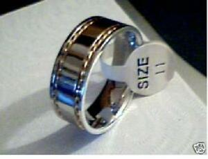 Stainless Steel Band with gold rope chain on sides size 11